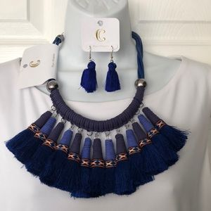 Beautiful Dark Blue Tassel Neckless & Earring Set